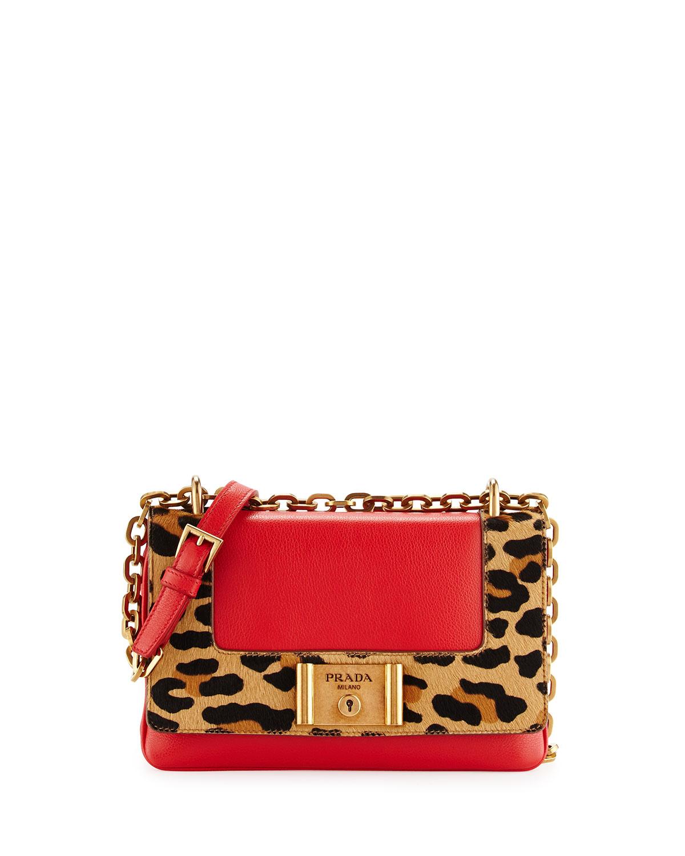 Calf Hair Calfskin Chain Shoulder Bag Red Orange Leopard Lacca Miele