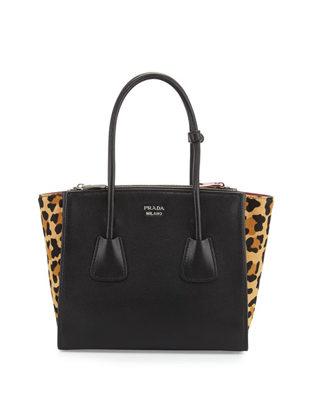PradaCalf Hair & Calfskin Medium Twin-Pocket Tote Bag,