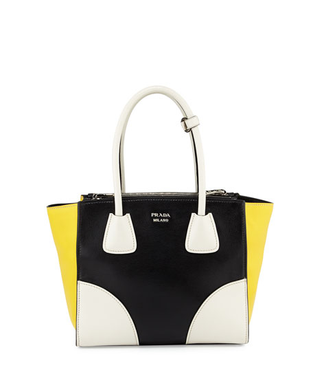 Prada Glace Calfskin Tricolor Tote Bag, Black/White/Yellow (Nero/Talco/Sole)