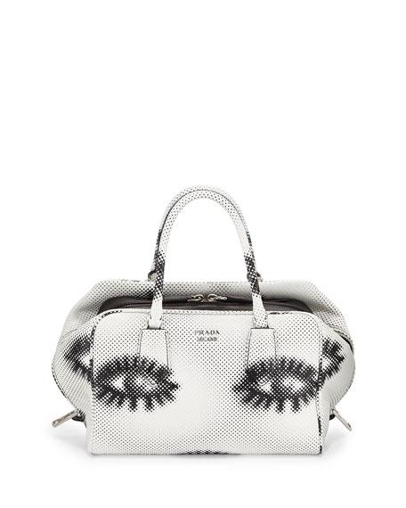 Prada Python Eyes Inside Bag, White/Black (Bianco+Nero)