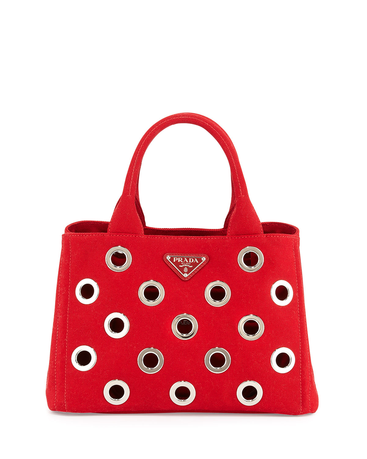 f56358d2f5ab81 Prada Canapa Grommet Small Garden Tote Bag, Red (Rosso) | Neiman Marcus