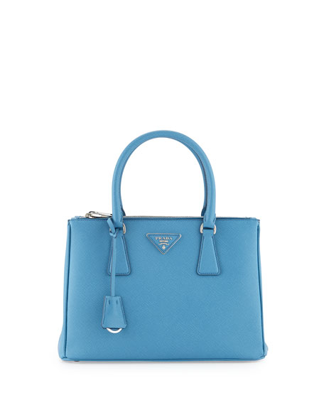 1d83ec75fd8f Prada Saffiano Lux Small Double-Zip Tote Bag, Light Blue (Mare ...