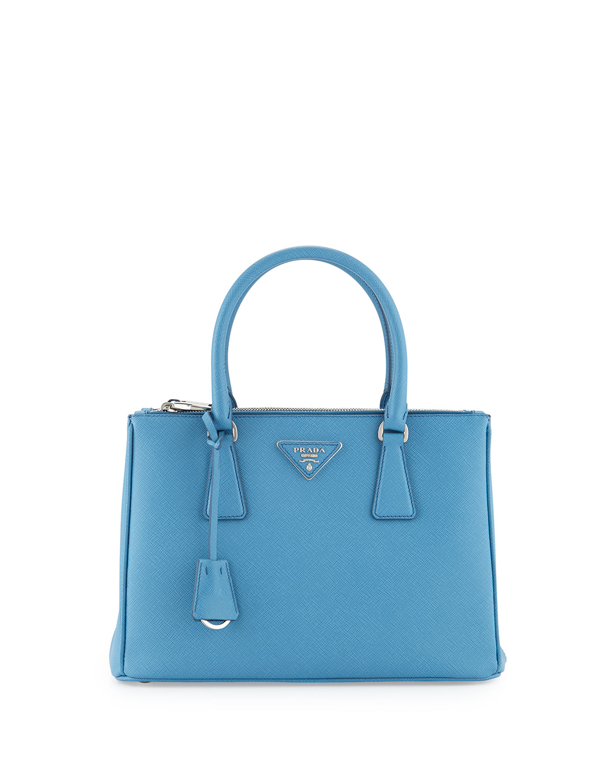 80e61437ab3f Prada Saffiano Lux Small Double-Zip Tote Bag, Light Blue (Mare ...