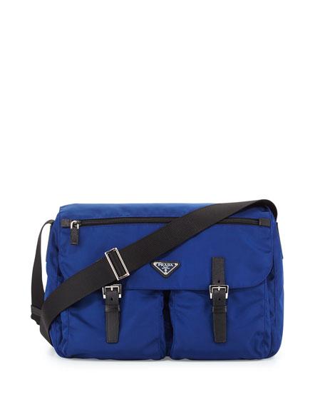 Small Vela Double-Pocket Messenger Bag, Dark Blue/Black (Bluette+Nero)
