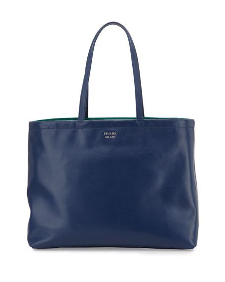Prada Soft Calfskin Reversible East-West Tote Bag, Dark Blue/Green ...