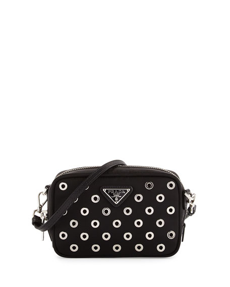 prada tessuto leather grommet chain bag