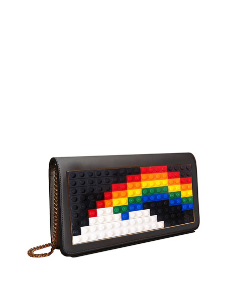 Image 1 of 2: Janis Micro Rainbow Mini Clutch Bag, Black