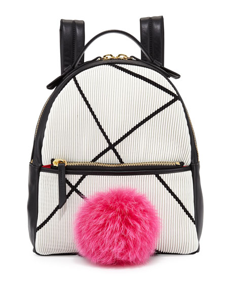 Mick Mini Fur-Pom Bunny Backpack, White/Black