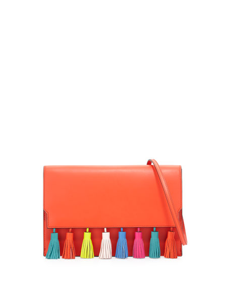 Sofia Leather Tassel Clutch Bag, Poppy Red