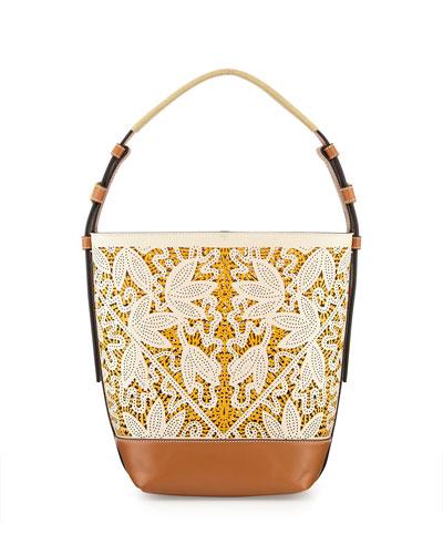 Floral Laser-Cut Bucket Tote Bag, Parchment Floral