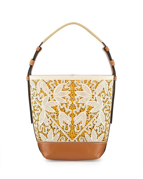 Tory Burch Floral Laser-Cut Bucket Tote Bag, Parchment Floral