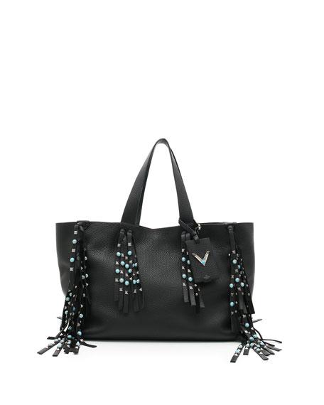 Valentino C-Rockee Rolling Rockstud Large Fringe Tote Bag, Black