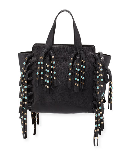 Valentino Small C Rockee Leather Fringe Rolling Studded Tote Bag, Black