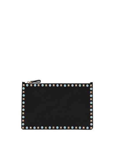 Rolling Rockstud Large Pouch, Black
