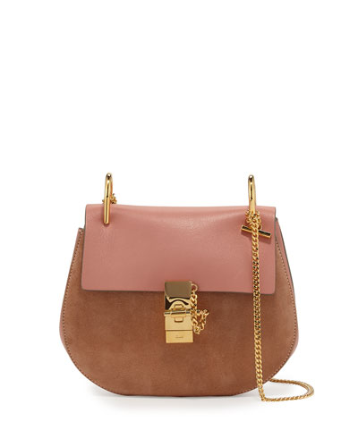 Drew Leather & Suede Shoulder Bag, Rose
