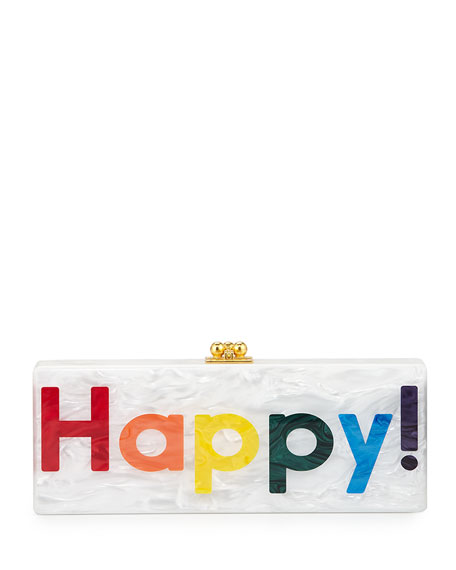 Edie Parker Flavia Happy Box Clutch, White