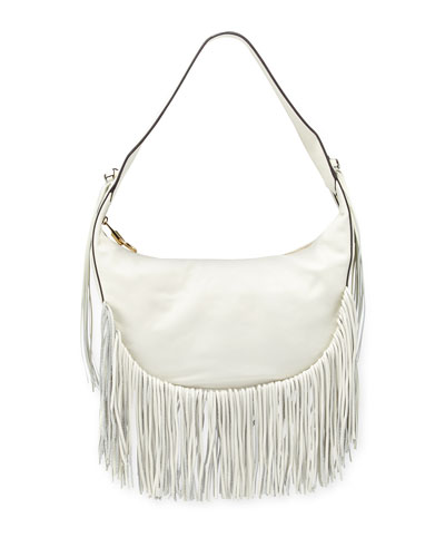 Zoe Smooth Leather Hobo Bag w/ Fringe, Ivory