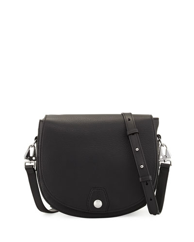 Flight Leather Saddle Bag, Black