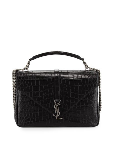 Saint Laurent Monogram College Large Crocodile-Embossed Shoulder