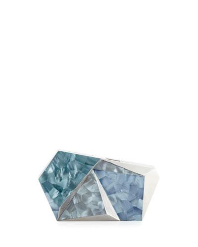 Azura Asymmetric Minaudiere, Blue/Silver
