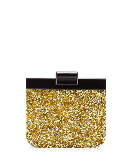 Edie Parker Charlie Contrast Clutch Bag, Gold Confetti