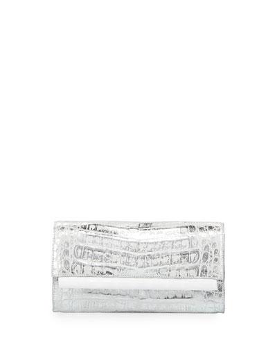 Crocodile Front-Flap Bar Clutch Bag, Silver Wash White