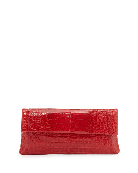 Nancy Gonzalez Gotham Crocodile Flap Clutch Bag, Red