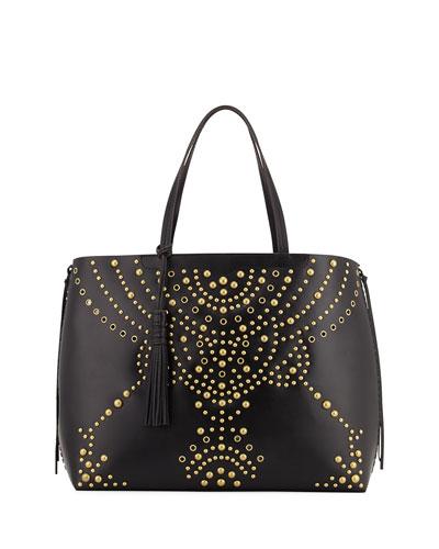 Panama Studded Leather Tote Bag, Black