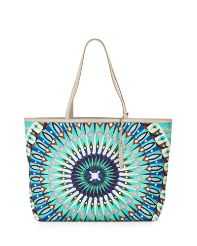 Delhi Large Printed Leather Tote Bag