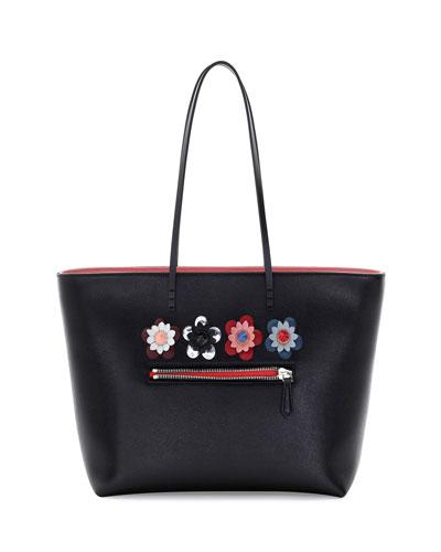 Roll Medium Flower-Embellished Leather Tote Bag, Black