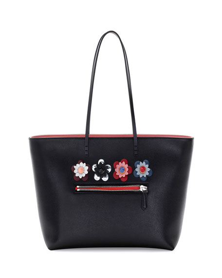 Fendi Roll Medium Flower Embellished Leather Tote Bag
