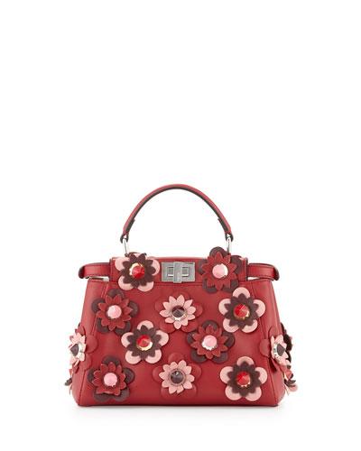 Peekaboo Mini Allover Flower Satchel Bag, Red