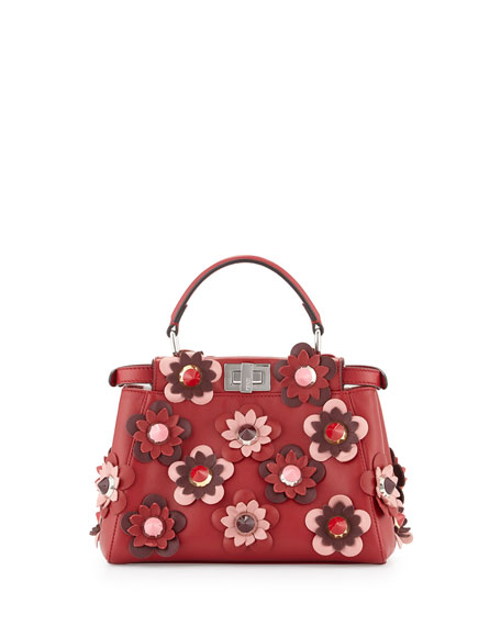 Fendi Peekaboo Mini Allover Flower Satchel Bag, Red