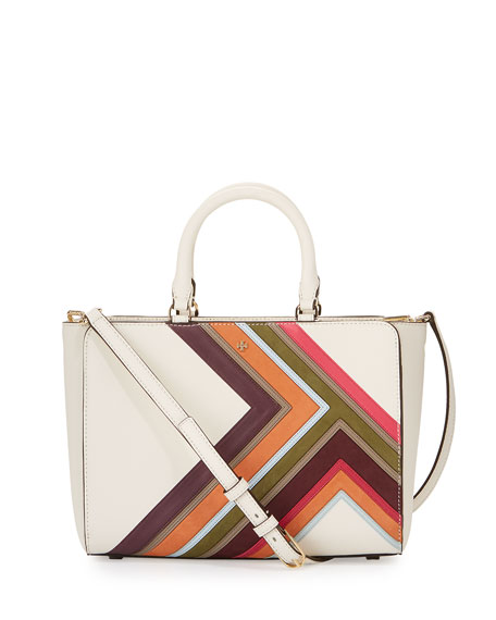 Tory Burch Robinson Multi-Stripe Small Zip Tote Bag,