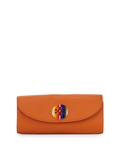 Emma Leather Clutch Bag, Orange