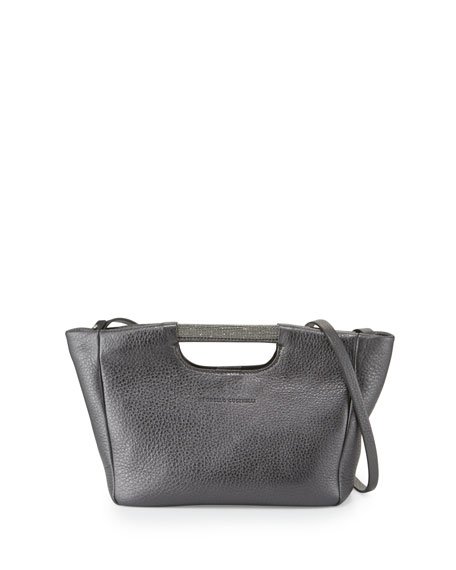 Brunello Cucinelli Small Metallic Tote Bag w/Shoulder Strap,