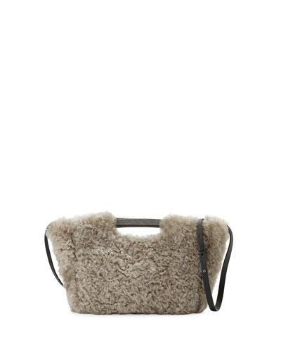 Small Shearling Tote Bag w/Shoulder Strap, Gray