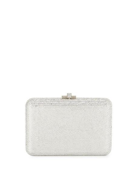 Slim Slide Crystal Evening Clutch Bag, Silver