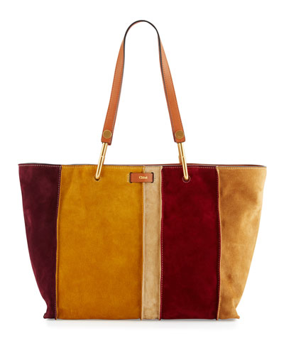 Keri Medium Striped Suede Tote Bag, Caramel