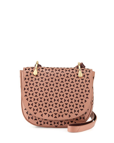 Zoe Perforated Leather Saddle Bag, Twig/Wine