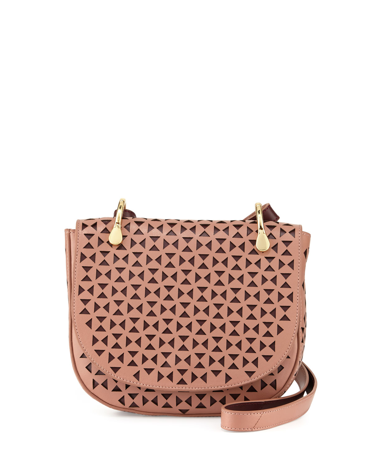 929e23e602 Elizabeth   James Zoe Perforated Leather Saddle Bag