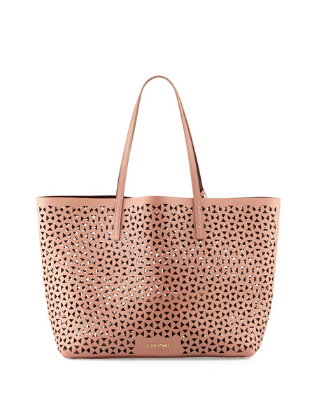 Daily Perforated Leather Tote Bag, Twig/Wine