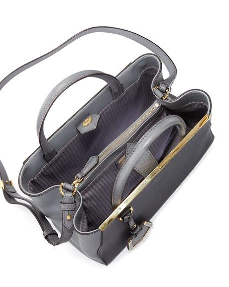 2Jours Petite Saffiano Satchel Bag, Dark Gray