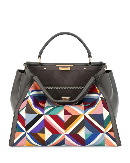 Fendi Large Quilted Geometric Peekaboo Satchel Bag, Gray