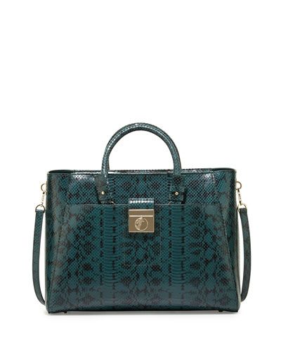 Snake-Embossed Leather Tote Bag, Green Snake