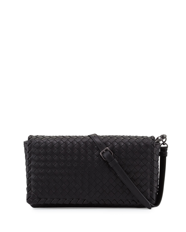 860e1e5317 Bottega Veneta Small Intrecciato Flap Clutch Bag w Strap