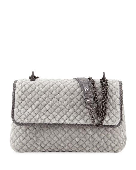 Olimpia Medium Intrecciato Quilted Velvet Shoulder Bag, Gray