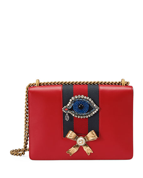 Peony Medium Eye Chain Shoulder Bag, Red/Multi