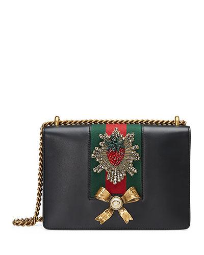 Peony Medium Strawberry Chain Shoulder Bag, Black