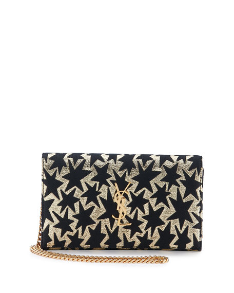 Saint Laurent Monogram Stars Flap Wallet-on-Chain, Gold/Black